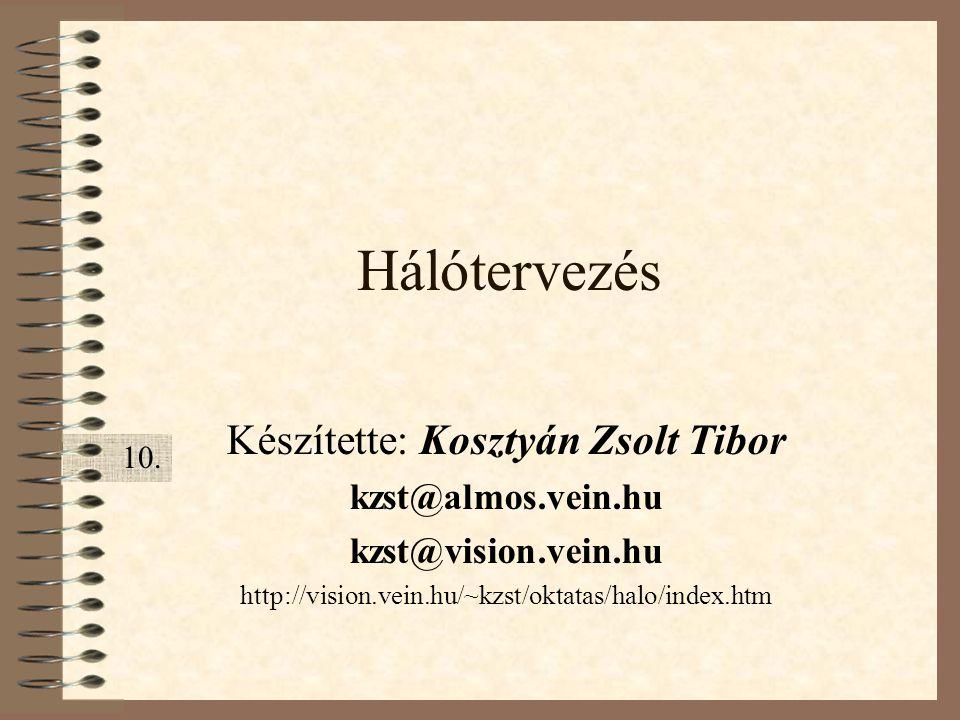 Hálótervezés Készítette: Kosztyán Zsolt Tibor kzst@almos.vein.hu kzst@vision.vein.hu http://vision.vein.hu/~kzst/oktatas/halo/index.htm 10.