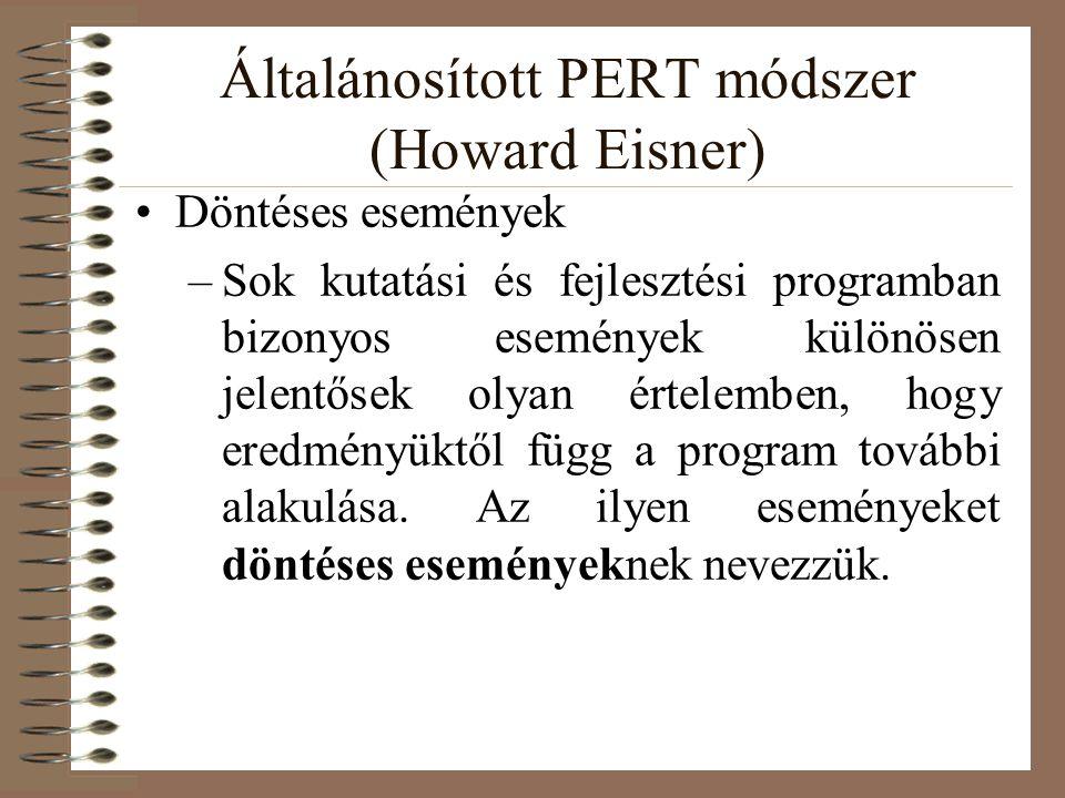 Általánosított PERT módszer (Howard Eisner) Döntéses események –Sok kutatási és fejlesztési programban bizonyos események különösen jelentősek olyan é