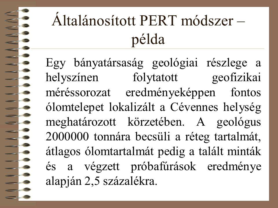 Általánosított PERT módszer – példa A Társaság igazgatóságát érdekli ez a telep, és a geológus optimista véleménye nyomán elhatározzák, hogy szállítóaknákat és esetleg egy ércmosót építenek.