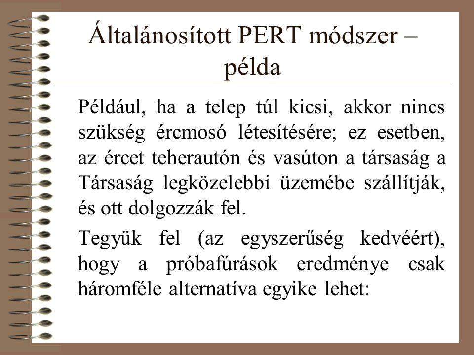 Általánosított PERT módszer – példa Például, ha a telep túl kicsi, akkor nincs szükség ércmosó létesítésére; ez esetben, az ércet teherautón és vasúto