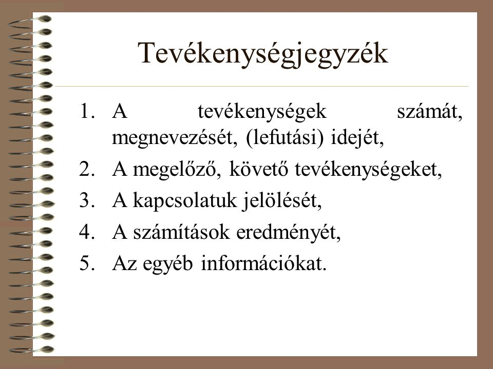 Tevékenységjegyzék 1.A tevékenységek számát, megnevezését, (lefutási) idejét, 2.A megelőző, követő tevékenységeket, 3.A kapcsolatuk jelölését, 4.A számítások eredményét, 5.Az egyéb információkat.