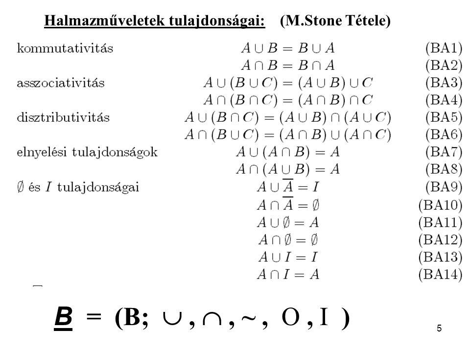 5 Halmazműveletek tulajdonságai: (M.Stone Tétele) B = (B; , , ~, O, I )