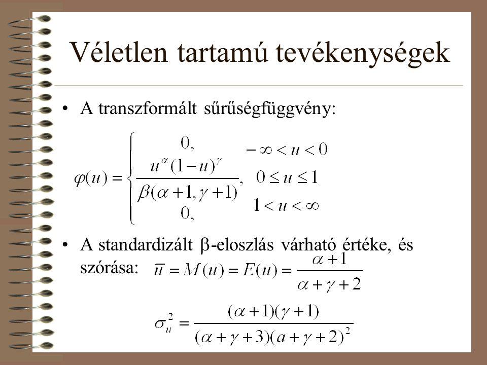 Véletlen tartamú tevékenységek A nem standardizált  -eloszlás várható értéke és szórása: Az eloszlás módusza (f'(t)=0 helyen felvett értéke):