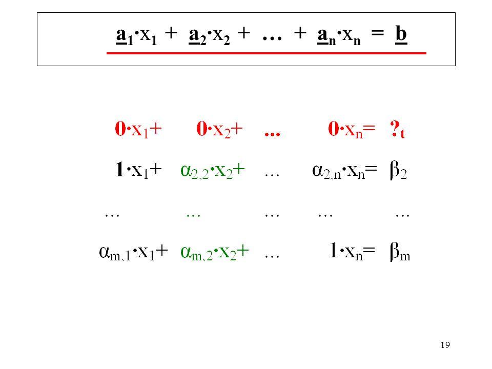 19 a 1 ·x 1 + a 2 ·x 2 + … + a n ·x n = b
