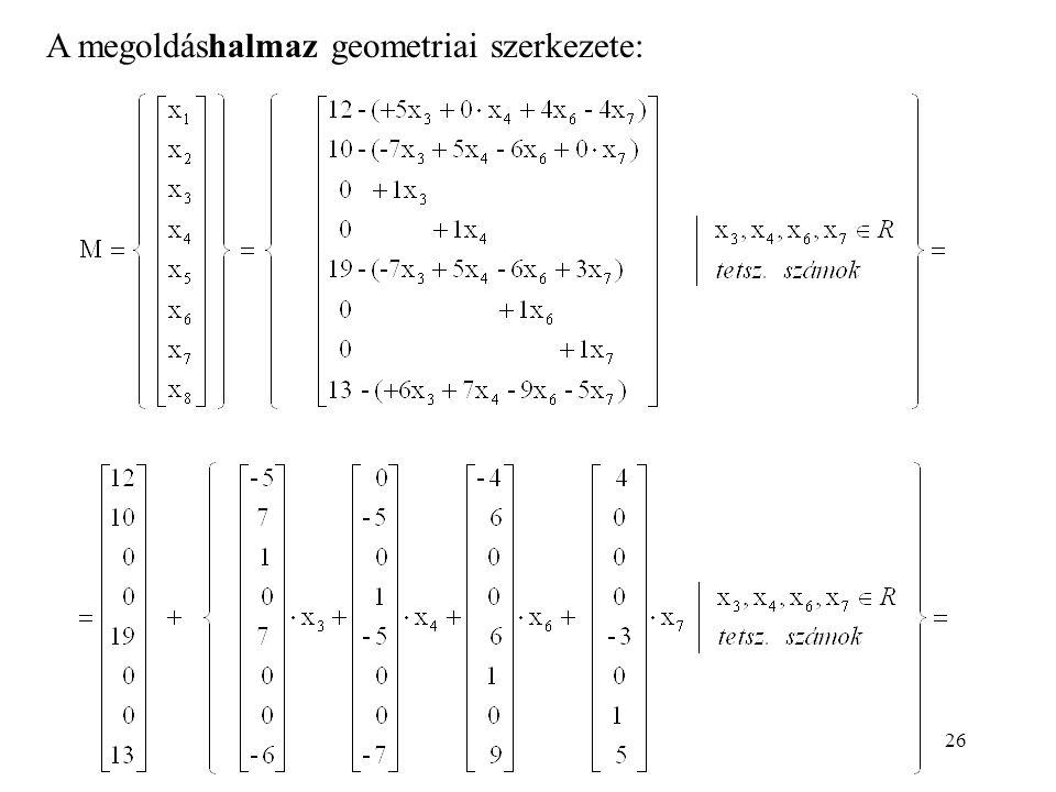 26 A megoldáshalmaz geometriai szerkezete: