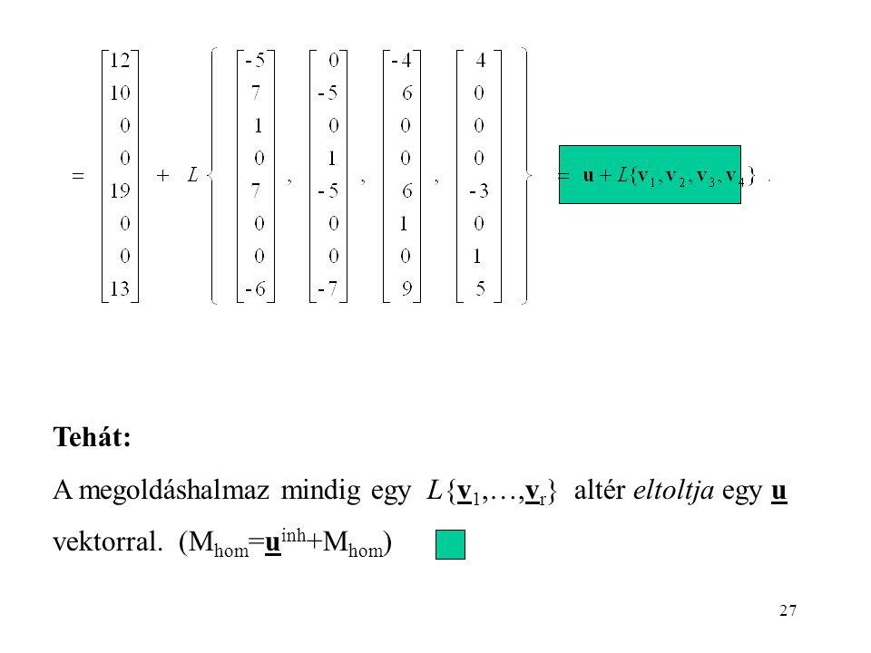 27 Tehát: A megoldáshalmaz mindig egy L{v 1,…,v r } altér eltoltja egy u vektorral. (M hom =u inh +M hom )