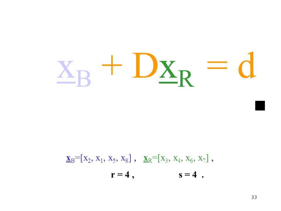 33 x B =[x 2, x 1, x 5, x 8 ], x R =[x 3, x 4, x 6, x 7 ], r = 4, s = 4. x B + Dx R = d