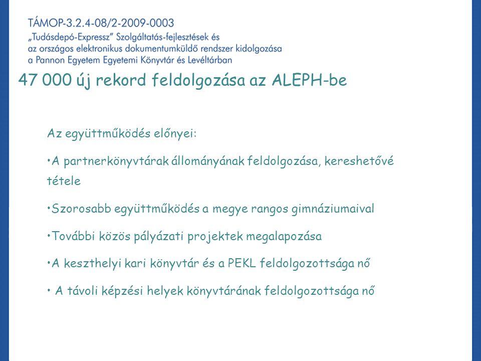 A projekt könyvtári fejlesztéssel kapcsolatos tapasztalatai, különös tekintettel az ALEPH-re 47 000 új rekord feldolgozása az ALEPH-be Az együttműködés előnyei: A partnerkönyvtárak állományának feldolgozása, kereshetővé tétele Szorosabb együttműködés a megye rangos gimnáziumaival További közös pályázati projektek megalapozása A keszthelyi kari könyvtár és a PEKL feldolgozottsága nő A távoli képzési helyek könyvtárának feldolgozottsága nő