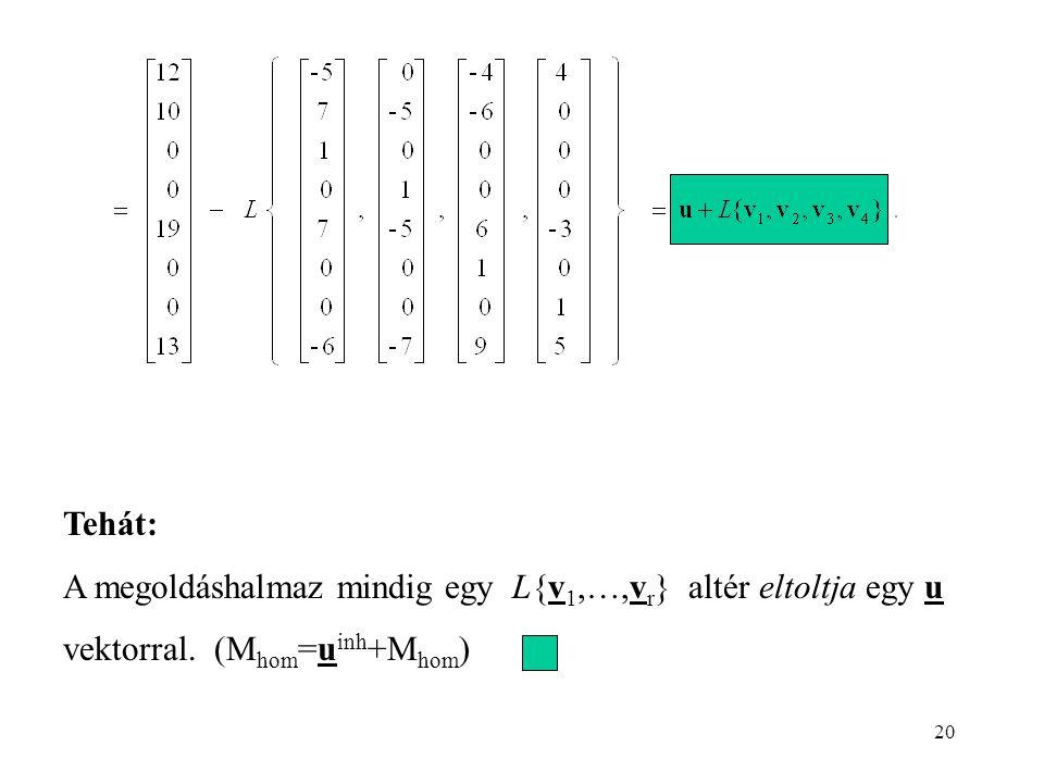 20 Tehát: A megoldáshalmaz mindig egy L{v 1,…,v r } altér eltoltja egy u vektorral.