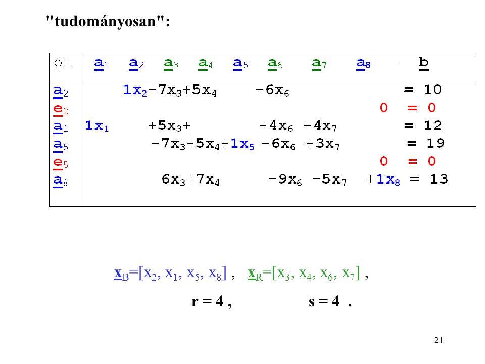 21 x B =[x 2, x 1, x 5, x 8 ], x R =[x 3, x 4, x 6, x 7 ], r = 4, s = 4. tudományosan :