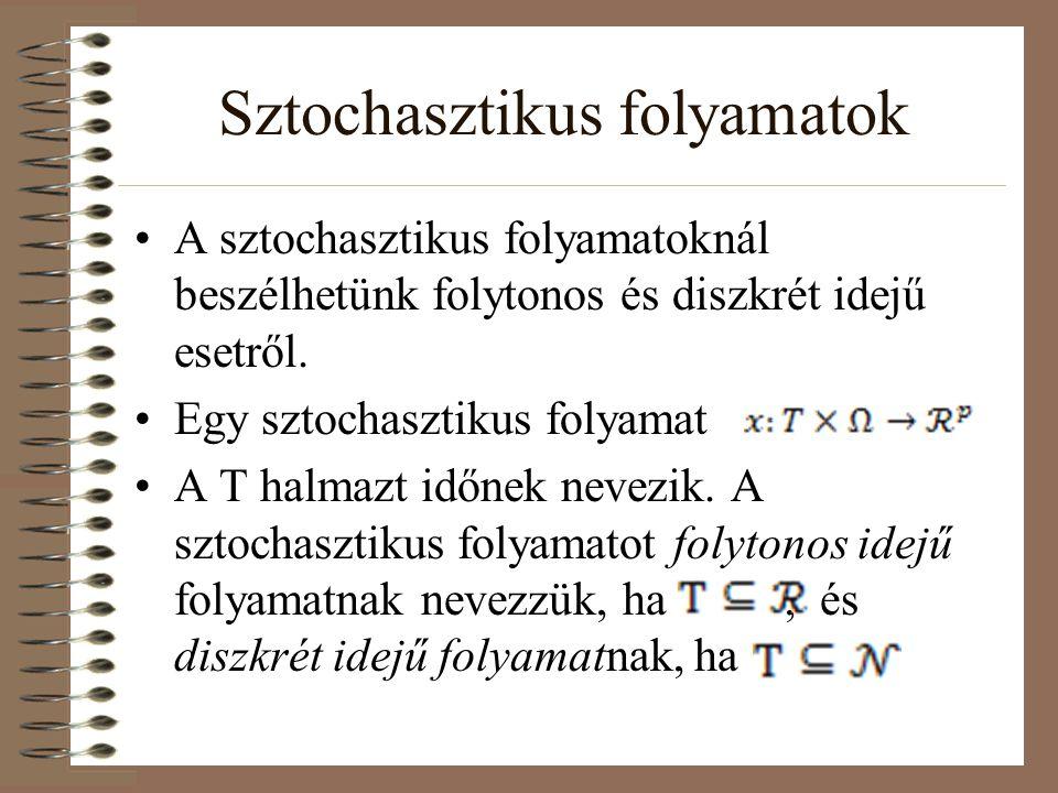 Sztochasztikus folyamatok A sztochasztikus folyamatoknál beszélhetünk folytonos és diszkrét idejű esetről. Egy sztochasztikus folyamat A T halmazt idő