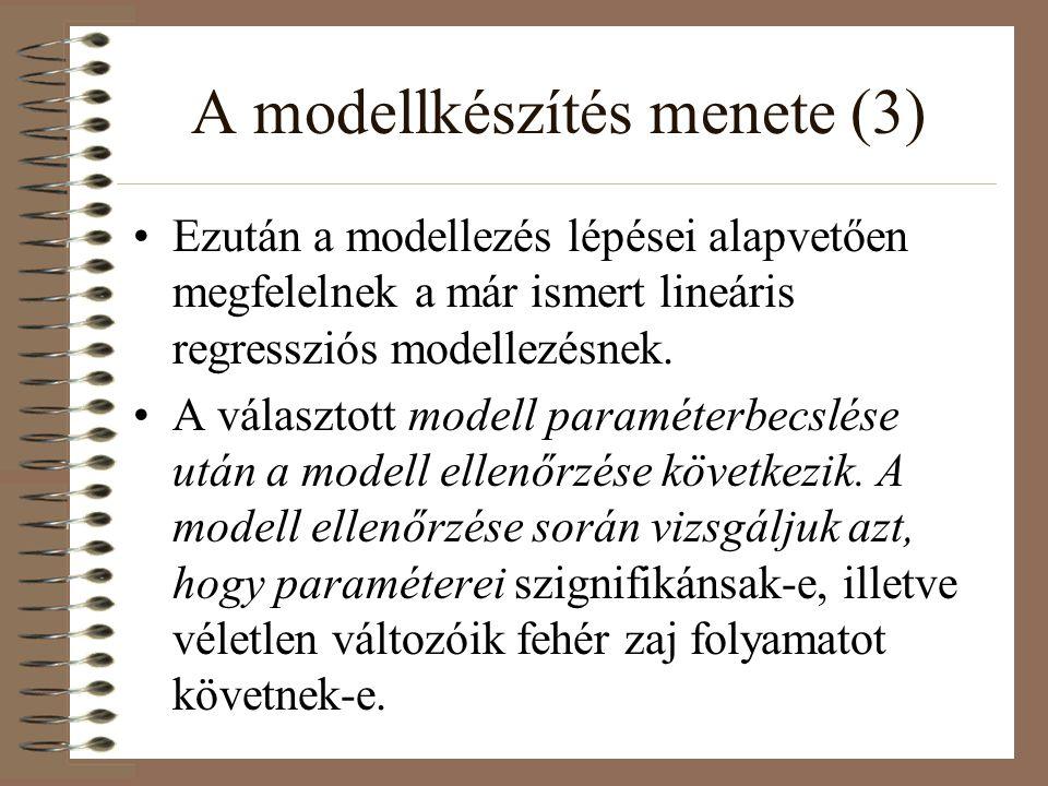 A modellkészítés menete (3) Ezután a modellezés lépései alapvetően megfelelnek a már ismert lineáris regressziós modellezésnek. A választott modell pa