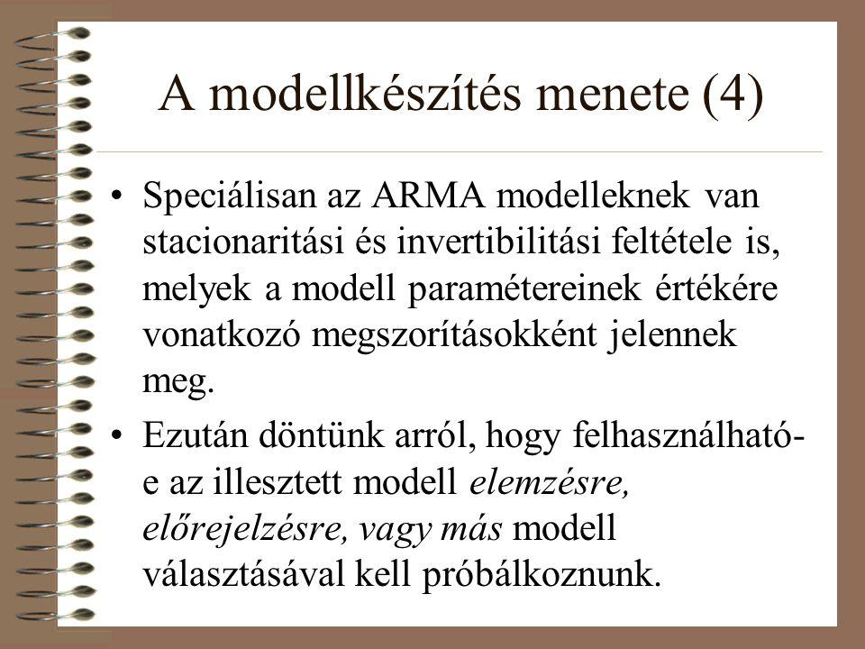 A modellkészítés menete (4) Speciálisan az ARMA modelleknek van stacionaritási és invertibilitási feltétele is, melyek a modell paramétereinek értékér
