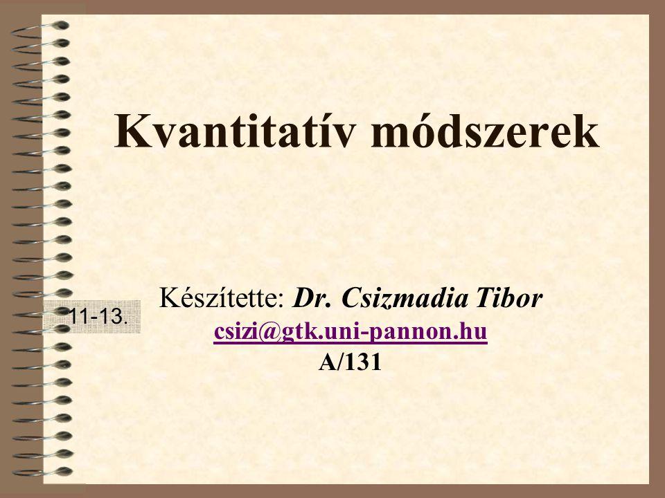 Kvantitatív módszerek Készítette: Dr. Csizmadia Tibor csizi@gtk.uni-pannon.hu A/131 11-13.