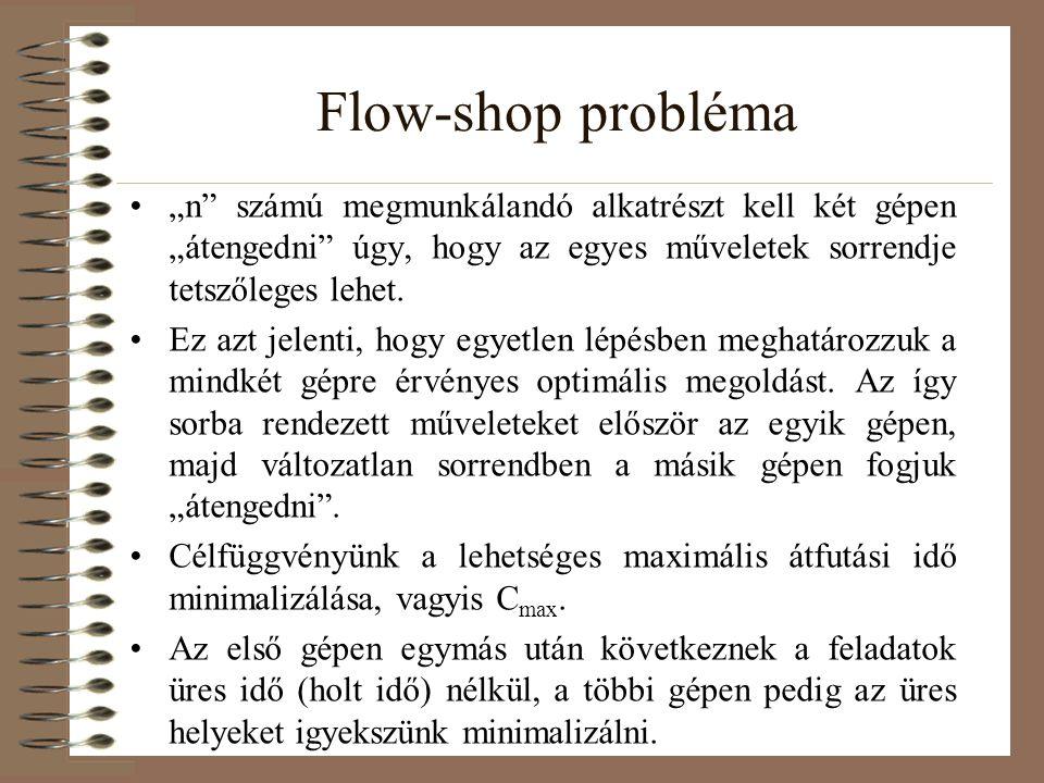 """Flow-shop probléma """"n"""" számú megmunkálandó alkatrészt kell két gépen """"átengedni"""" úgy, hogy az egyes műveletek sorrendje tetszőleges lehet. Ez azt jele"""