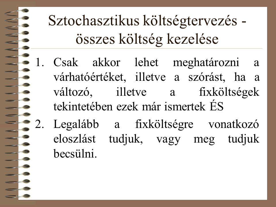 Sztochasztikus költségtervezés és a finanszírozás 1.A finanszírozás determinisztikus!!.