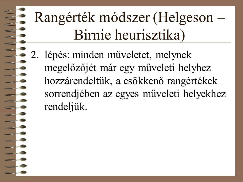 Rangérték módszer (Helgeson – Birnie heurisztika) 2.lépés: minden műveletet, melynek megelőzőjét már egy műveleti helyhez hozzárendeltük, a csökkenő r