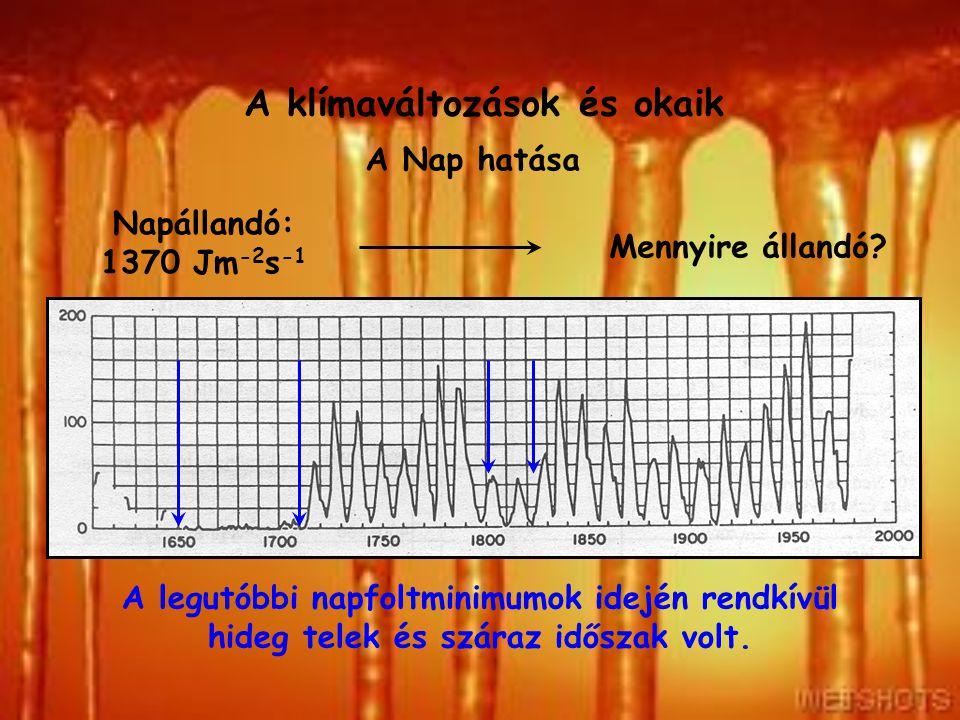 A klímaváltozások és okaik A Nap hatása Napállandó: 1370 Jm -2 s -1 Mennyire állandó? A naptevékenység közvetlen hatása nem ismert. A legutóbbi napfol