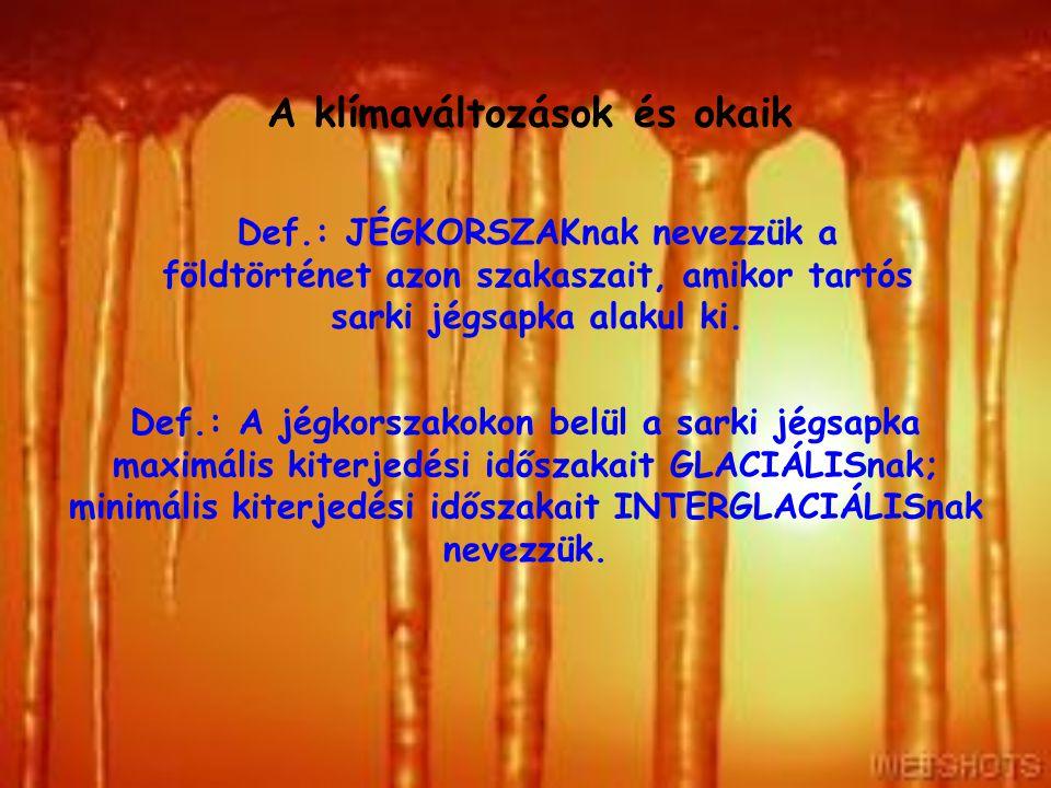 A klímaváltozások és okaik A Nap hatása Az jégkorszakokon belül periodikusan (~ 20 ezer évente) ismétlődnek a glaciális és az interglaciális időszakok.