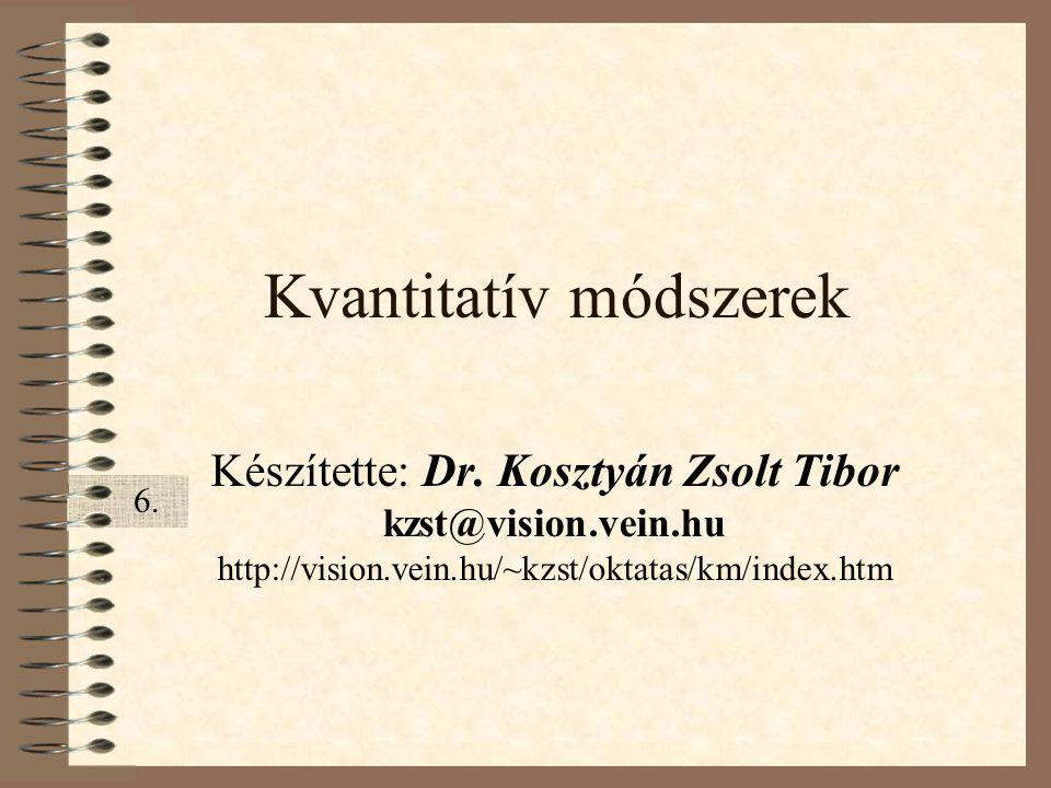 Kvantitatív módszerek Készítette: Dr. Kosztyán Zsolt Tibor kzst@vision.vein.hu http://vision.vein.hu/~kzst/oktatas/km/index.htm 6.