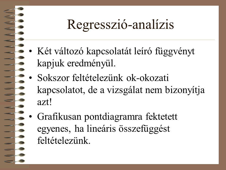 Regresszió-analízis Két változó kapcsolatát leíró függvényt kapjuk eredményül. Sokszor feltételezünk ok-okozati kapcsolatot, de a vizsgálat nem bizony