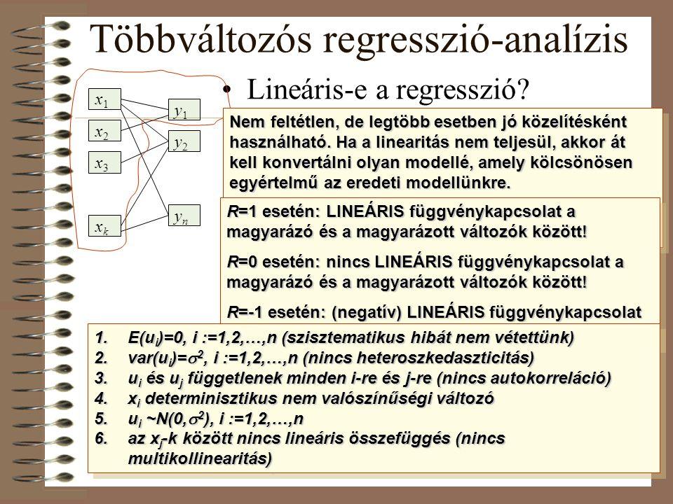 Lineáris-e a regresszió? Mit jelent a korrelációs együttható értéke? Milyen feltételek mellett használható a lineáris regressziós modell? Többváltozós