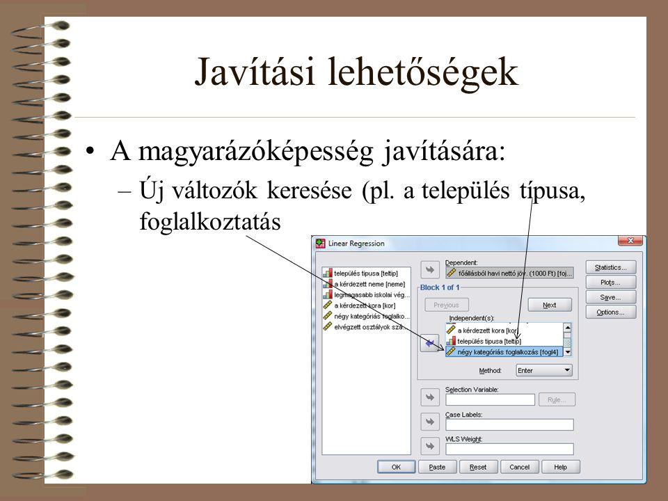 Javítási lehetőségek A magyarázóképesség javítására: –Új változók keresése (pl. a település típusa, foglalkoztatás