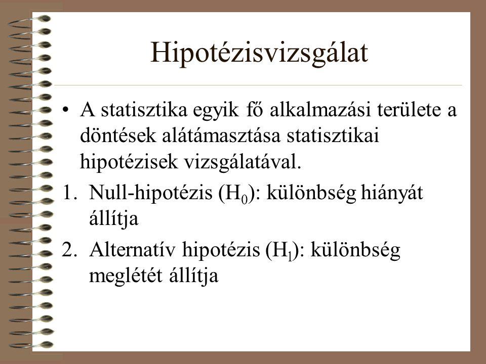 Hipotézisvizsgálat A statisztika egyik fő alkalmazási területe a döntések alátámasztása statisztikai hipotézisek vizsgálatával. 1.Null-hipotézis (H 0