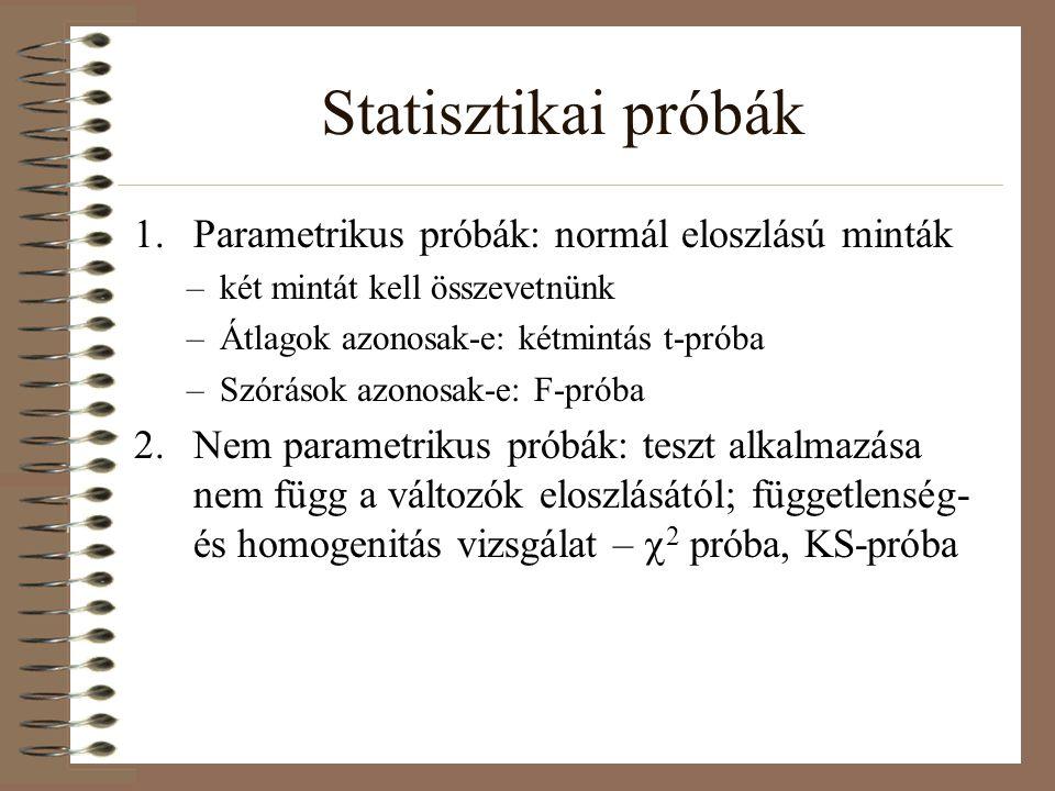 Statisztikai próbák 1.Parametrikus próbák: normál eloszlású minták –két mintát kell összevetnünk –Átlagok azonosak-e: kétmintás t-próba –Szórások azon