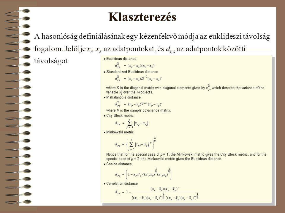 Klaszterezés A hasonlóság definiálásának egy kézenfekvő módja az euklideszi távolság fogalom. Jelölje x r, x s az adatpontokat, és d r,s az adatpontok