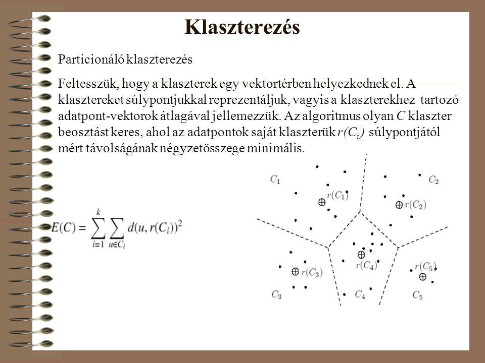 Particionáló klaszterezés Feltesszük, hogy a klaszterek egy vektortérben helyezkednek el. A klasztereket súlypontjukkal reprezentáljuk, vagyis a klasz