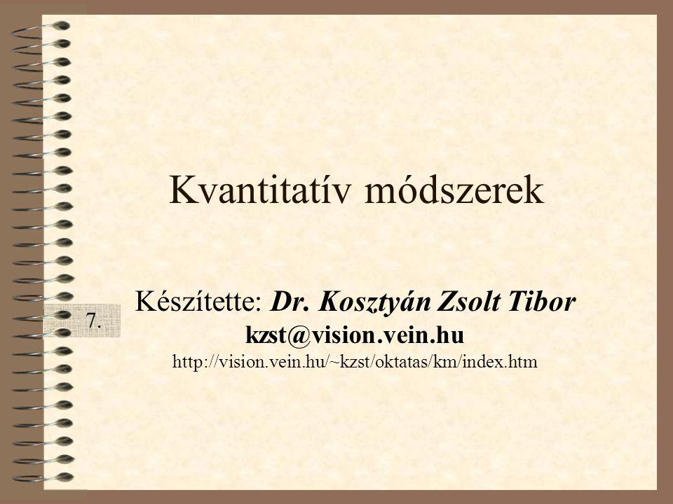 Kvantitatív módszerek Készítette: Dr. Kosztyán Zsolt Tibor kzst@vision.vein.hu http://vision.vein.hu/~kzst/oktatas/km/index.htm 7.7.