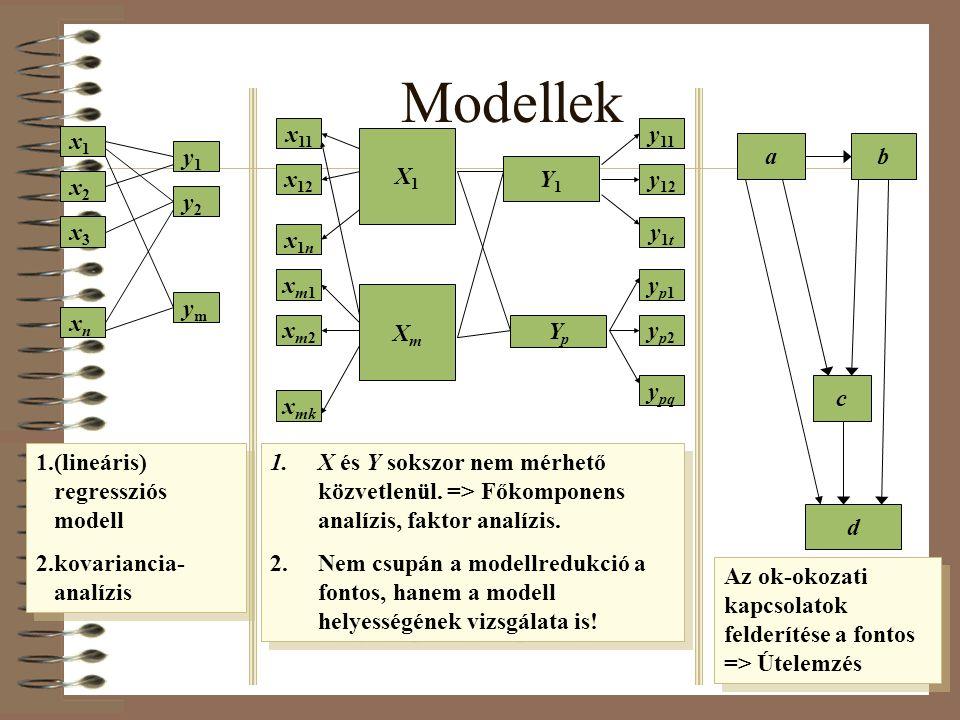 Modellek x1x1 x2x2 x3x3 xnxn y1y1 y2y2 ymym x 11 x 12 x1nx1n X1X1 xm1xm1 xm2xm2 x mk XmXm Y1Y1 YpYp y 11 y 12 y1ty1t yp1yp1 yp2yp2 y pq ab c d 1.(line