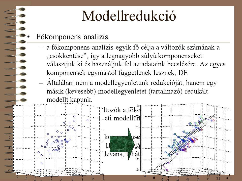 """Modellredukció Főkomponens analízis –a főkomponens-analízis egyik fő célja a változók számának a """"csökkentése"""", így a legnagyobb súlyú komponenseket v"""