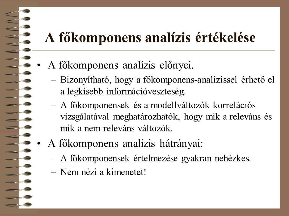 A főkomponens analízis értékelése A főkomponens analízis előnyei. –Bizonyítható, hogy a főkomponens-analízissel érhető el a legkisebb információveszte