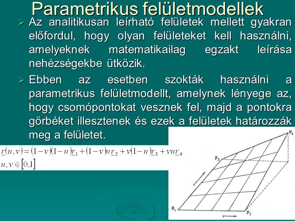Parametrikus felületmodellek  Az analitikusan leírható felületek mellett gyakran előfordul, hogy olyan felületeket kell használni, amelyeknek matemat