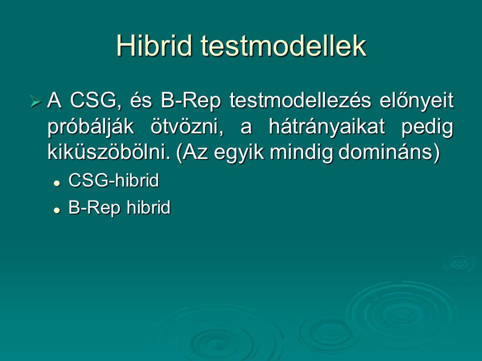 Hibrid testmodellek  A CSG, és B-Rep testmodellezés előnyeit próbálják ötvözni, a hátrányaikat pedig kiküszöbölni. (Az egyik mindig domináns) CSG-hib