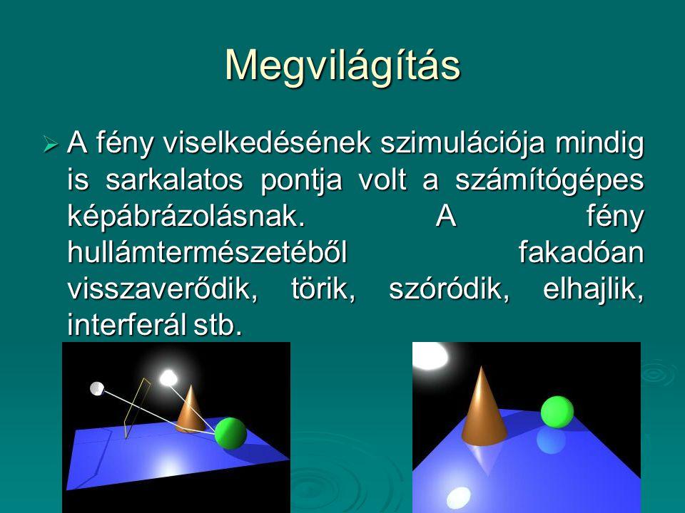 Megvilágítás  A fény viselkedésének szimulációja mindig is sarkalatos pontja volt a számítógépes képábrázolásnak. A fény hullámtermészetéből fakadóan