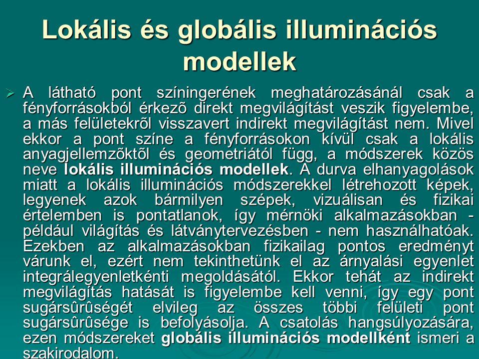 Lokális és globális illuminációs modellek  A látható pont színingerének meghatározásánál csak a fényforrásokból érkezõ direkt megvilágítást veszik fi