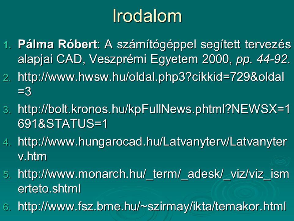 Irodalom 1. Pálma Róbert: A számítógéppel segített tervezés alapjai CAD, Veszprémi Egyetem 2000, pp. 44-92. 2. http://www.hwsw.hu/oldal.php3?cikkid=72