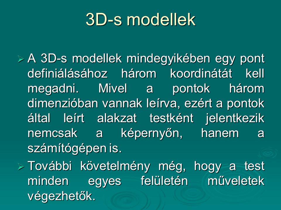 3D-s modellek  A 3D-s modellek mindegyikében egy pont definiálásához három koordinátát kell megadni. Mivel a pontok három dimenzióban vannak leírva,