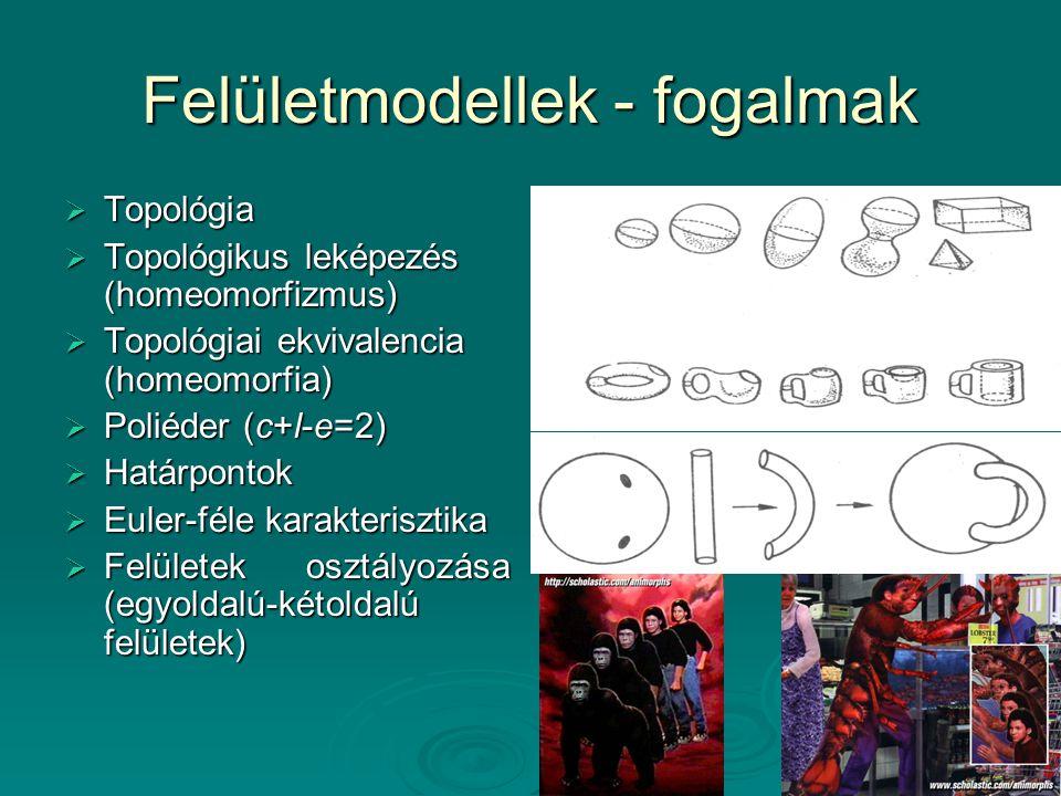 Felületmodellek - fogalmak  Topológia  Topológikus leképezés (homeomorfizmus)  Topológiai ekvivalencia (homeomorfia)  Poliéder (c+l-e=2)  Határpo