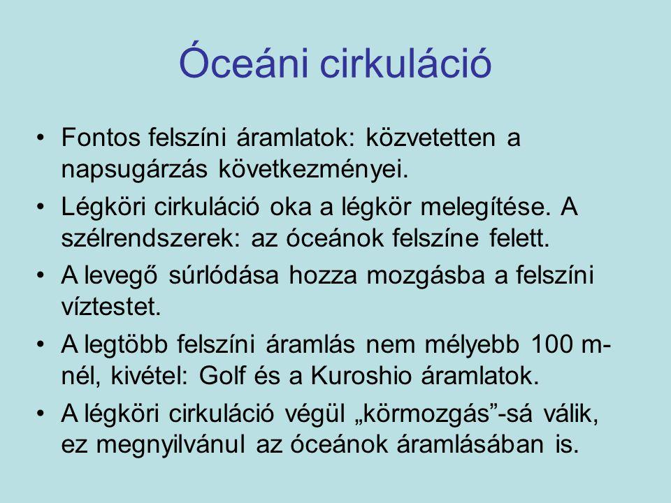 Óceáni cirkuláció Fontos felszíni áramlatok: közvetetten a napsugárzás következményei.
