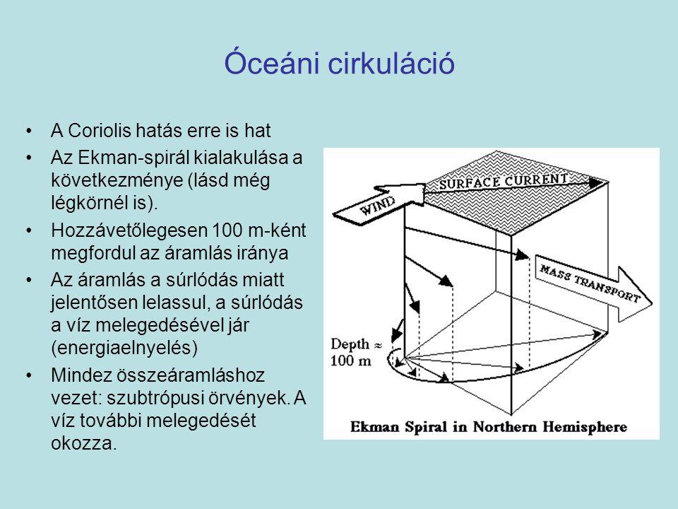 Óceáni cirkuláció A Coriolis hatás erre is hat Az Ekman-spirál kialakulása a következménye (lásd még légkörnél is).