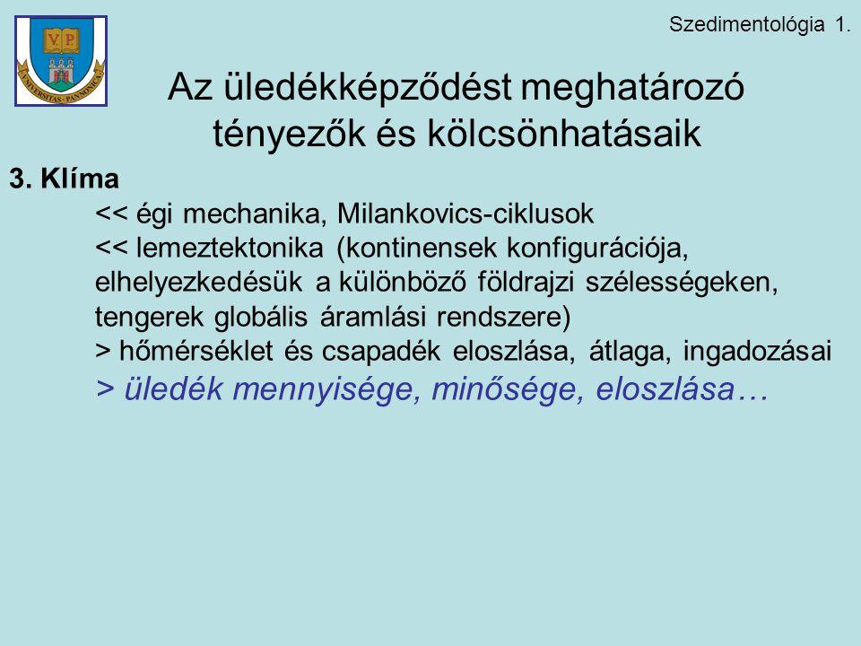 Szedimentológia 1. Az üledékképződést meghatározó tényezők és kölcsönhatásaik 3. Klíma << égi mechanika, Milankovics-ciklusok << lemeztektonika (konti