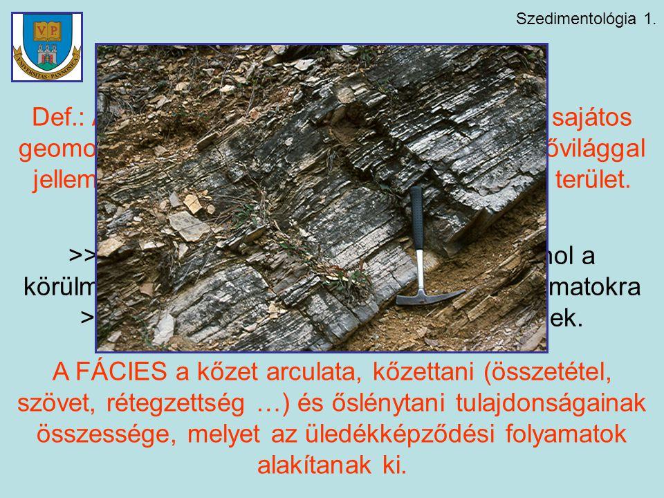 Szedimentológia 1. Alapfogalmak Def.: Az ÜLEDÉKKÉPZŐDÉSI KÖRNYEZET sajátos geomorfológiai, fizikai, kémiai jellegekkel és élővilággal jellemezhető, ez
