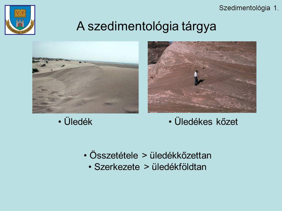 Szedimentológia 1. Üledék Üledékes kőzet Összetétele > üledékkőzettan Szerkezete > üledékföldtan A szedimentológia tárgya