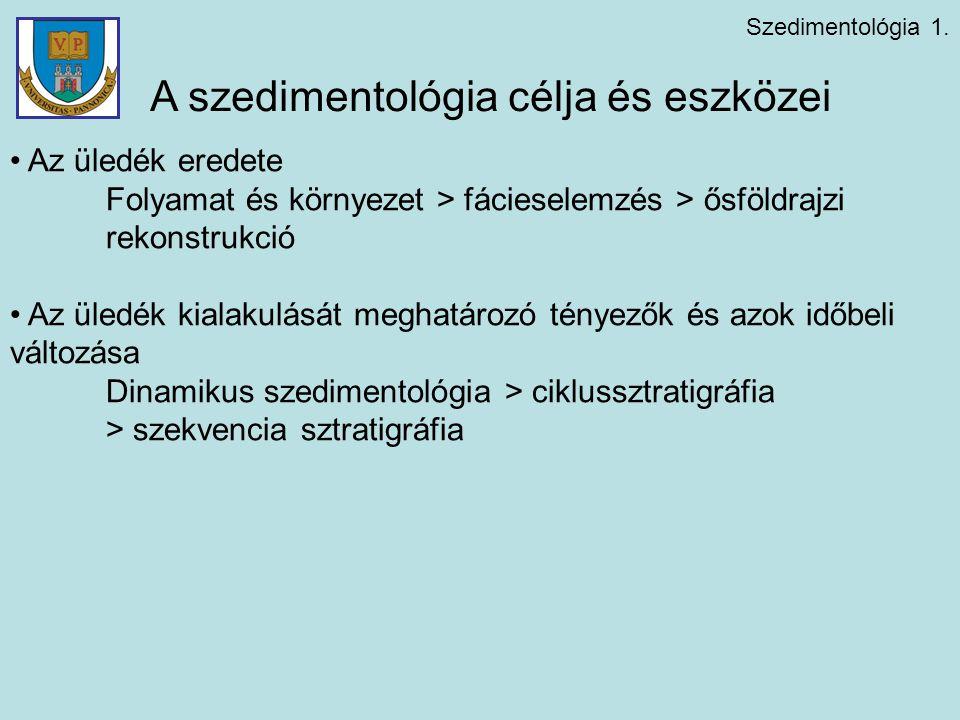 Szedimentológia 1. A szedimentológia célja és eszközei Az üledék eredete Folyamat és környezet > fácieselemzés > ősföldrajzi rekonstrukció Az üledék k