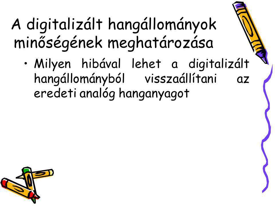 A digitalizált hangállományok minőségének meghatározása Milyen hibával lehet a digitalizált hangállományból visszaállítani az eredeti analóg hanganyag