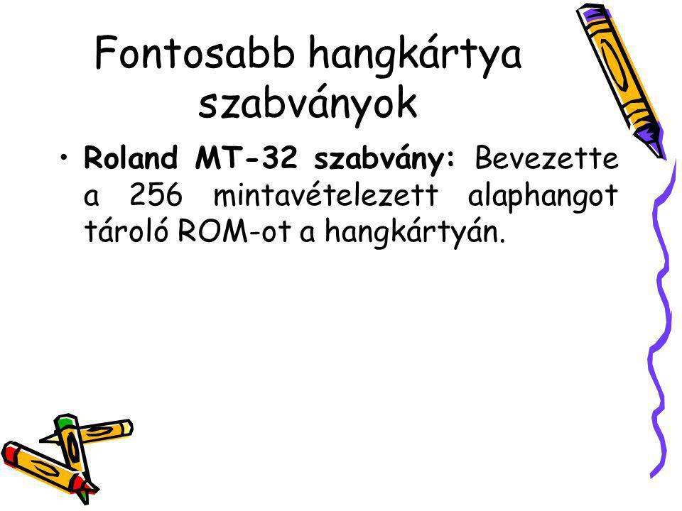 Fontosabb hangkártya szabványok Roland MT-32 szabvány: Bevezette a 256 mintavételezett alaphangot tároló ROM-ot a hangkártyán.